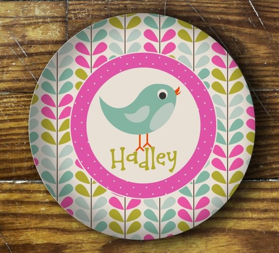 Personalized Melamine Plate- Bird
