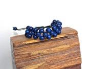 Knotted bracelet navy blue wood beads, chunky bracelet, very light bracelet, casual bracelet, Summer, adjustable