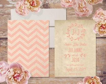 Save The Date Cards in Chevron & Burlap / Coral Peach / Shabby Chic Weddings Rustic Weddings / PRINTED CARDS