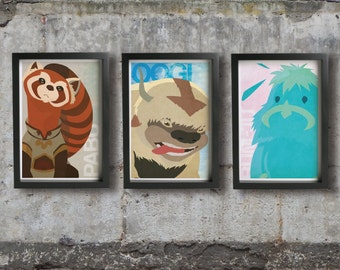 OOGI, PABU & BUM-Ju posters - Inspired by The Legend of Korra. Fine art prints.