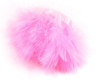 "Baby Pink Marabou Feathers -3"" Baby Pink Marabou Feathers,12"" in length attached to a satin ribbon. Baby Pink Feathers. Perfect for your DIY"