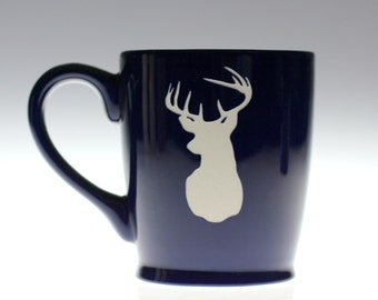 Buck Coffee Mug, Christmas Gift, Hunter Gift, Personalized Hunting Gift, Engraved Coffee Mug, Etched Mug, Deer Love,