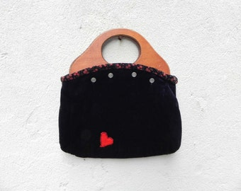 Black Cloth Bag Purse with Red Heart and Wooden Handles, Removable & Interchangeable