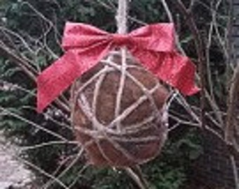 Bird Nesting Ball -  Raw Alpaca Fiber - Sparkling Red Bow -