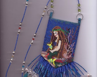 Beaded Mermaid amulet bag