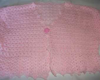 Hand crochet Pink Bed Jacket