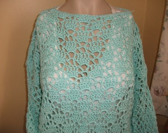 Cotton Thread Crochet Jumper in Mint Green