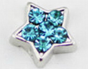 Floating Charm ~ 1 piece Turquoise Rhinestone Star  FC047
