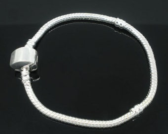 "Child's Silver Plated Magnetic Clasp  PAND*RA Style Snake Chain Bracelets 6"" with BONUS Stopper Bead"