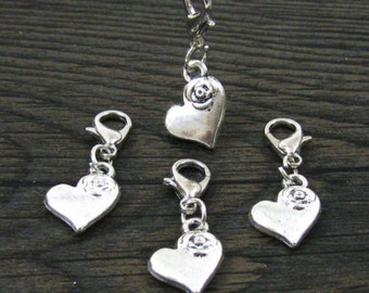 1 pc. Dangle Silver Heart w/Rose for Bracelets, Floating Charm Pendants, Necklaces & Keychains  D031