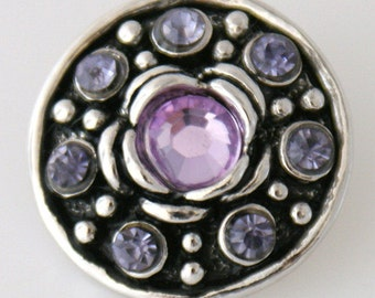 KB7504 Large Lilac Crystal Center of Silver Flower Offset with Purple Crystals