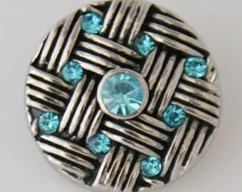 KB7547  Spectacular Woven Silver Charm with Aqua Crystals