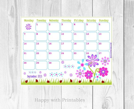 calendar september 2015 printable flowers by