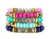 SALE - Jade & Gemstone Stretch Bracelet