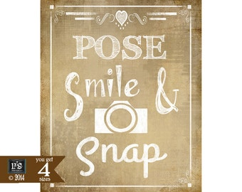 Instant Download Wedding PHOTO BOOTH Sign - Pose Smile Snap - DIY - Vintage Heart Collection