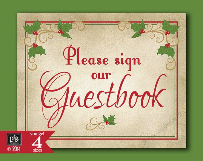 Please sign our Guestbook Printable Christmas Wedding sign - download digital file - DIY - Heirloom Berry Christmas Collection