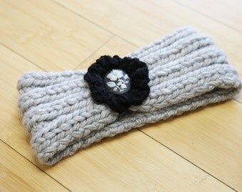 Headband with knit flower and pin detail
