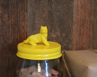 Yellow cat jar [] Fluffy cat [] Cat lover gift