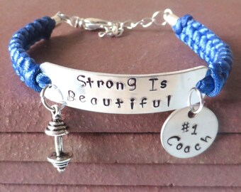 Strong Is Beautiful #1 Coach Workout  Weight Lifting Bodybuilding Barbell Charm Bracelet You Choose Your Cord Color(s)