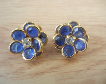 Avon Stud Blue Flower Clear CZ Earrings