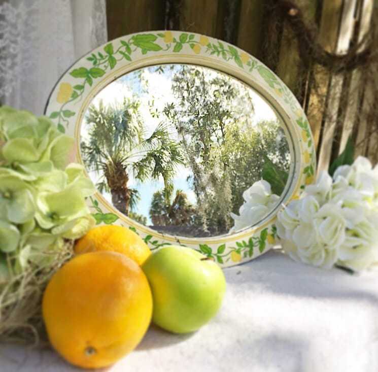 Vintage Floral Mirror 60 S Retro Style Shabby Chic