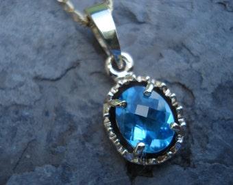 TOPAZ gold pendant, blue topaz necklace, blue topaz, swiss blue, London blue, sky blue topaz, conflict free gem, recycled gold, ExquisiteGem