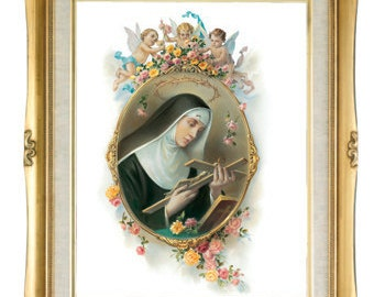 """Saint Rita Gold Wood Frame, Overall Size 16"""" X 20"""" Inch"""