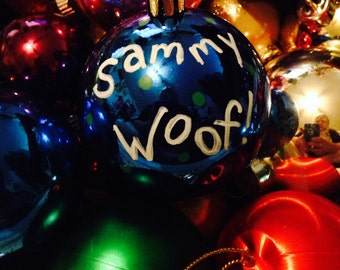 "Hand Painted ""Sammy Woof"" Dog Ornament"