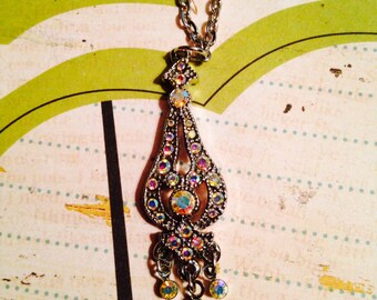 Handmade By Maddigraphs Dangle Rainbow Crystal Necklace