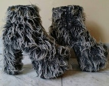 SALE! VTG. 90s Ultra Shaggy Grey Buffalo Platform Heels Shag Hooves Faux Fur Party Monster Club Kid hellbound cybergoth grunge