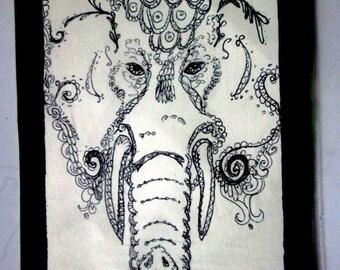 "Royal Elephant Steampunk (ink drawing 4""X 6"")"