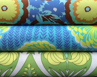 Amy Butler Soul Blossoms BUNDLE ~ Blue Yellow & Green ~ Fat Quarter or Half Yard ~ Free Spirit Westminster Rowan