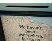 Ticket Holder - Map with Text Background - 8x8 Inch Shadow Box  - Ticket Keeper - Customized Map - Holiday Gift - Travel Theme
