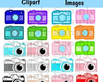 20 images Camera Clipart Clip Art, INSTANT DOWNLOAD Photography Logo Elements, Stamps, Retro Camera Clip Art, Vintage Camera Clip Art