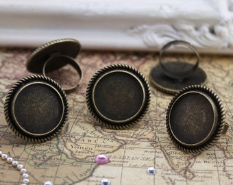20 of Victorian Rings Setting, 20mm Circle, Adjustable, Antique Bronze