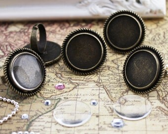 15 of Victorian Rings Kits, Blank Ring Settings, 20mm Glass Cabochons, Circle, Adjustable, Antique Bronze
