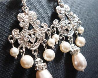 Carreaux Distinctive Chandelier Pearl and Crystal Bridal Earrings - Lace Earrings - Ornate Earrings - Bridal Earrings - Wedding Earrings