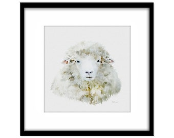 Sheep Painting Instant Download, Printable Animal Poster, Country Art, Farm Yard Art, Card Making
