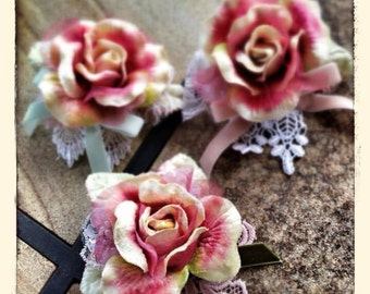 Victorian Velvet Rose & Lace Hair Clip and Brooch