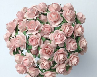 50 Pale Pink Mulberry Paper Roses 10mm (1 cm)