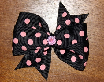 """3"""" Black with Pink Spots Pinwheel Bow"""