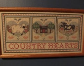 Vintage 1994 Cross Stitched Country Hearts Sampler