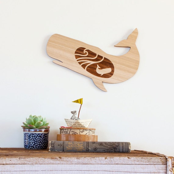 Nursery Wood Wall Decor : Sale wood whale nursery decor wall art wooden laser cut