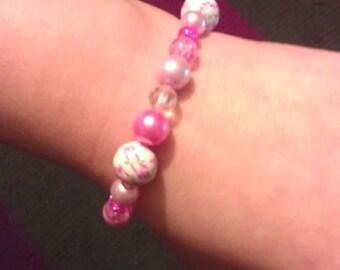 Pink bead bangle