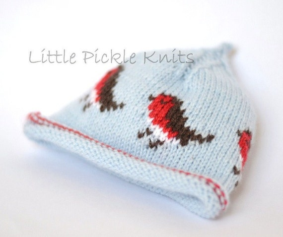 Knitting Patterns For Christmas Hats : Items similar to CHRISTMAS KNITTING PATTERNS - baby hat - little robins pixie...