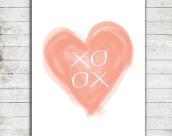 XOXO- Coral Water Color Heart- Digital Printable JPEG file for 8x10 or 16x20 Print #201