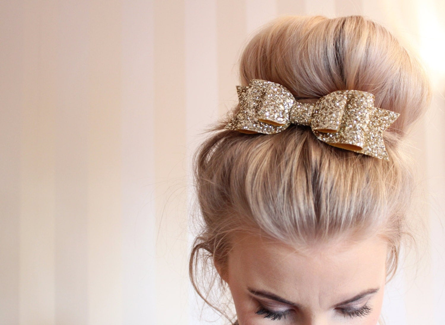 oversized large pale gold glitter fabric bow hair clip for