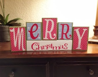 Merry Christmas / Decorative Block Letters / Home Decor / Wood Letters / Holiday Decorations / Decorative Letters