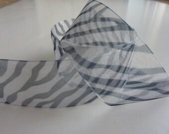 "1 1/2""  Sheer Zebra Print Ribbon. By the yard."