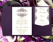 "Pocket Fold Wedding Invitations ""Grace"" Majestic Royal Purple & Gold Printable Templates Instant D Order Any 1-2 Colors Word.doc DIY U Print"